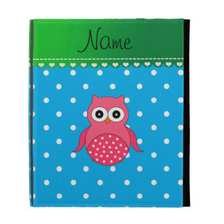 Personalized name pink owl blue polka dots iPad case