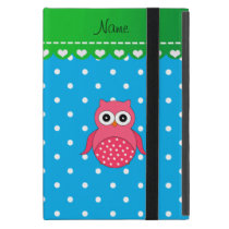 Personalized name pink owl blue polka dots cover for iPad mini