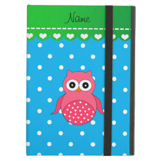 Personalized name pink owl blue polka dots iPad air cases