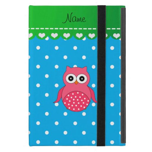 Personalized name pink owl blue polka dots iPad mini cover