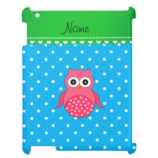 Personalized name pink owl blue polka dots cover for the iPad
