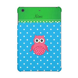 Personalized name pink owl blue polka dots iPad mini case