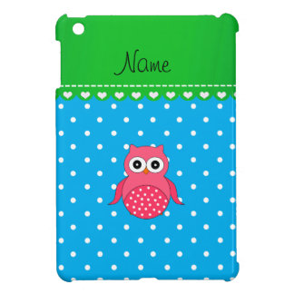 Personalized name pink owl blue polka dots cover for the iPad mini