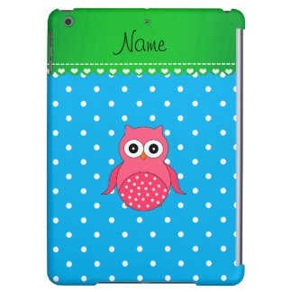 Personalized name pink owl blue polka dots iPad air case
