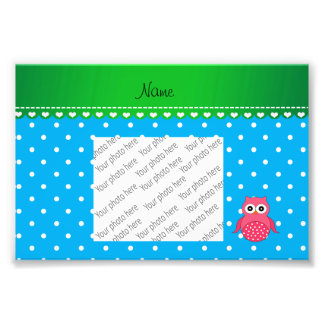 Personalized name pink owl blue polka dots photograph