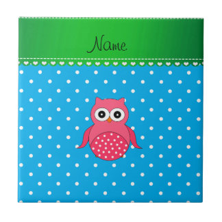 Personalized name pink owl blue polka dots tiles