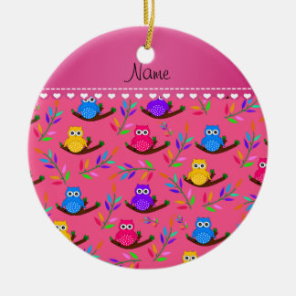 Personalized name pink owl branches leaves ceramic ornament