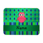 Personalized name pink owl green christmas trees rectangular photo magnet