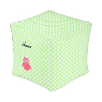 Personalized name pink owl green polka dots pouf