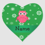 Personalized name pink owl green snowflakes heart stickers