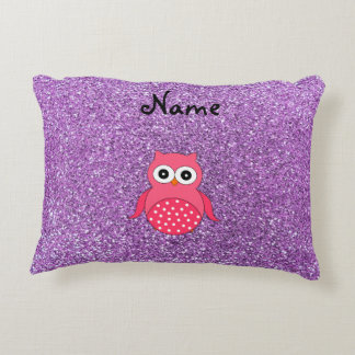 Personalized name pink owl light purple glitter accent pillow