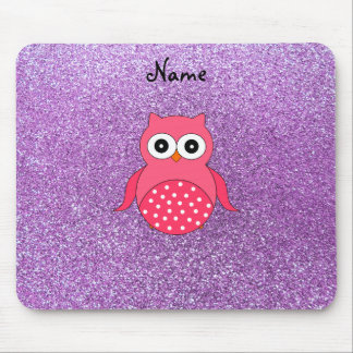 Personalized name pink owl light purple glitter mouse pads