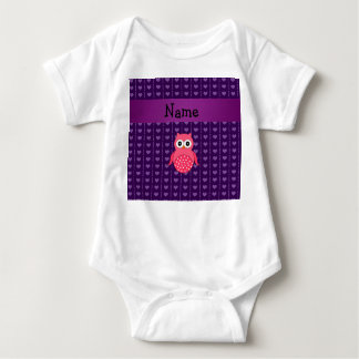 Personalized name pink owl purple hearts baby bodysuit