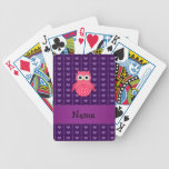 Personalized name pink owl purple hearts bicycle playing cards