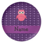 Personalized name pink owl purple hearts plates