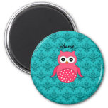 Personalized name pink owl turquoise damask refrigerator magnet