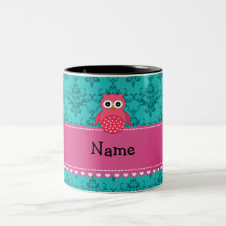 Personalized name pink owl turquoise damask coffee mugs