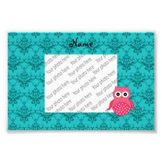 Personalized name pink owl turquoise damask photo art