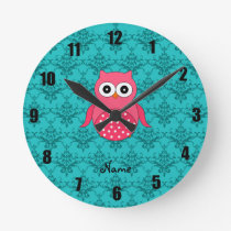 Personalized name pink owl turquoise damask round clock