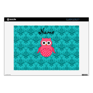 "Personalized name pink owl turquoise damask decal for 13"" laptop"