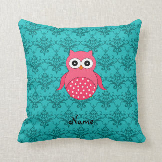 Personalized name pink owl turquoise damask throw pillow