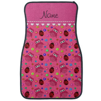 Personalized name pink owls flowers ladybugs car mat