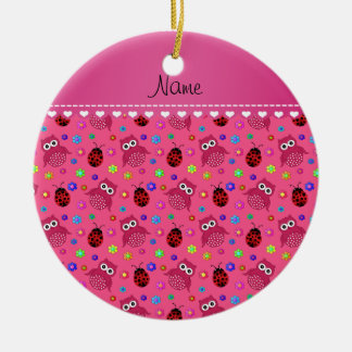 Personalized name pink owls flowers ladybugs ceramic ornament