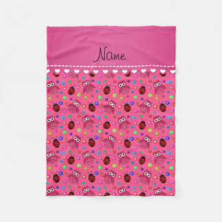 Personalized name pink owls flowers ladybugs fleece blanket