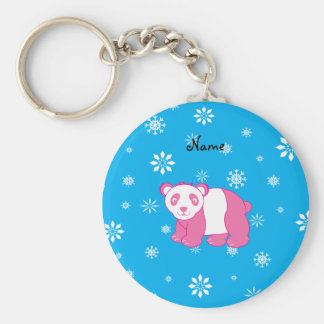Personalized name pink panda blue snowflakes keychains