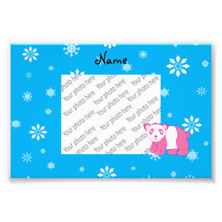Personalized name pink panda blue snowflakes photographic print