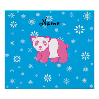 Personalized name pink panda blue snowflakes poster