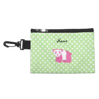 Personalized name pink panda green polka dots accessory bags