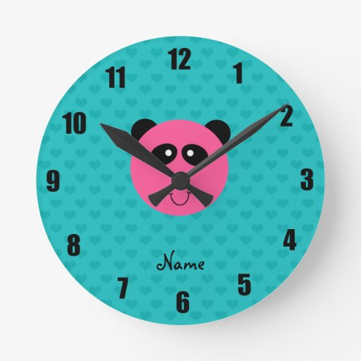 Personalized name pink panda head turquoise hearts round wall clock