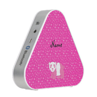 Personalized name pink panda pink stars bluetooth speaker