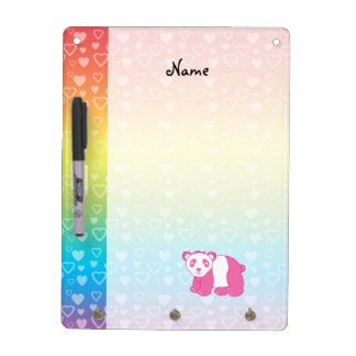 Personalized name pink panda rainbow hearts Dry-Erase board