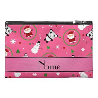 Personalized name pink panda santas christmas travel accessories bag