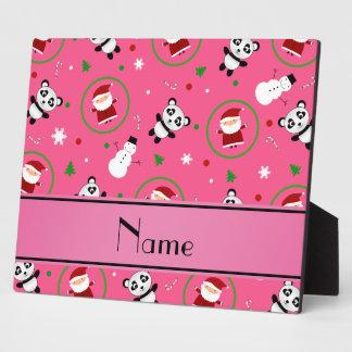 Personalized name pink panda santas christmas plaques