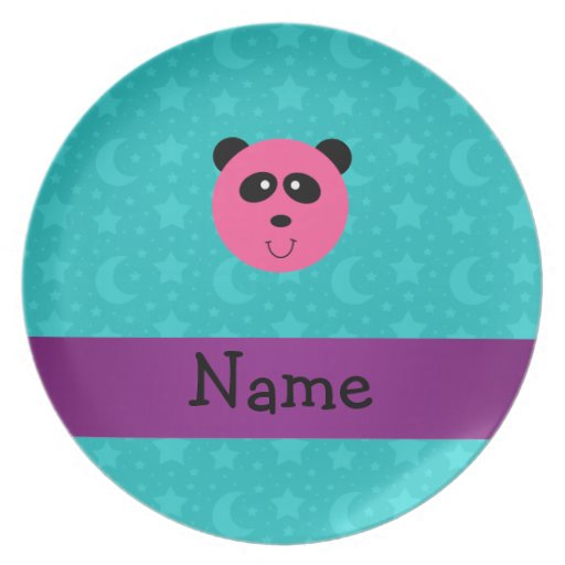 Personalized name pink panda turquoise stars party plates