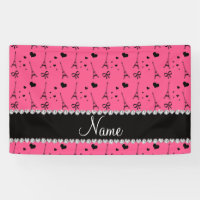 Personalized name pink paris eiffel tower banner