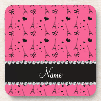 Personalized name pink paris eiffel tower coaster