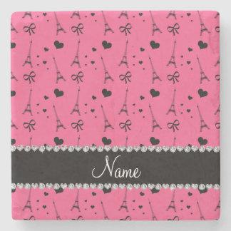 Personalized name pink paris eiffel tower stone beverage coaster