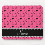 Personalized name pink paris eiffel tower mouse pad