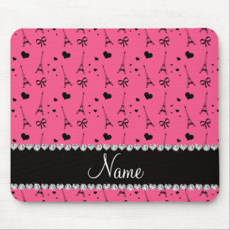 Personalized name pink paris eiffel tower mouse pads