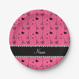 Personalized name pink paris eiffel tower paper plate
