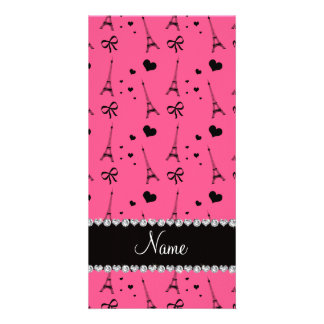 Personalized name pink paris eiffel tower photo card template