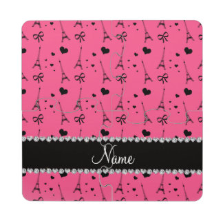 Personalized name pink paris eiffel tower puzzle coaster