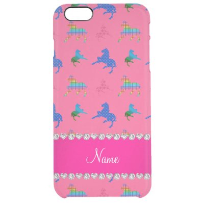 Personalized name pink patterned horses clear iPhone 6 plus case