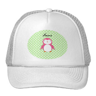 Personalized name pink penguin green polka dots trucker hat