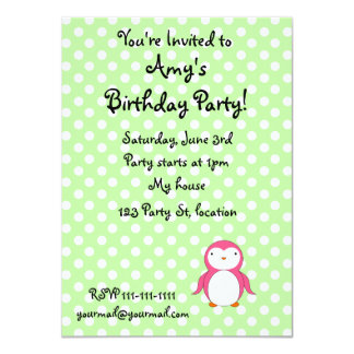 """Personalized name pink penguin green polka dots 4.5"""" x 6.25"""" invitation card"""