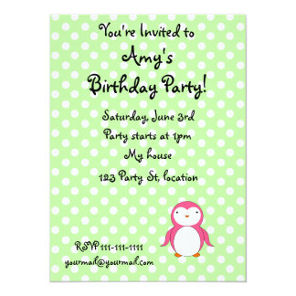 Personalized name pink penguin green polka dots invitation